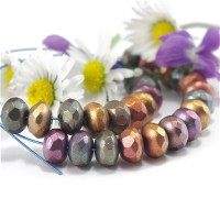 Czech glass beads fire polished donuts mix of metallic colors, 7 mm, 40 pcs.