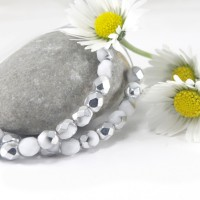 Czech fire polished beads chalk white silver, 4 mm, 60 pcs.