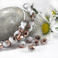 Czech fire polished beads chalk white capri gold, 4 mm, 60 pcs.
