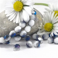 Czech fire polished beads chalk white metallic blue, 4 mm, 60 pcs.
