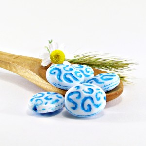 Czech Pressed Glass Beads, Flat Oval with Fantasy Pattern, 17x14 mm, 6 pcs.