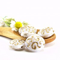 Czech Pressed Glass Beads, Flat Oval with Fantasy Pattern, 17x14 mm, 6 pcs