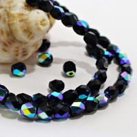 Czech fire polished beads, Black with Jet AB coating, 4 mm, 60 pcs.