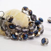 Czech fire polished beads, clear with gray blue coating, 8 mm, 20 pcs.
