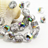 Czech fire polished beads, clear with AB coating, 8 mm, 20 pcs.