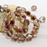 Czech fire polished beads, clear with capri gold coating, 8 mm, 20 pcs.