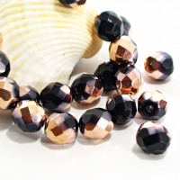 Czech fire polished beads, black with antique gold coating, 8 mm, 20 pcs.