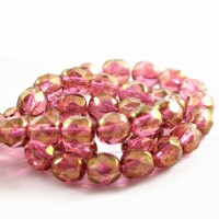 Czech fire polished beads, clear crystal with RED LUSTR coating, 6 mm, 40 pcs.