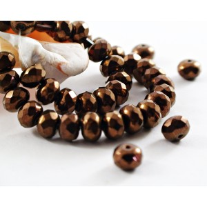 Czech fire polished faceted beads rondelle, JET BRONZE, 7 mm, 40 pcs.