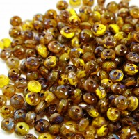 Czech glass beads fire polished rondelles, bright brown with picasso coating, 3x5mm, 80 pcs.
