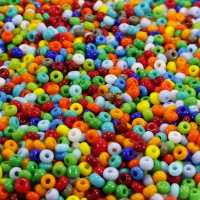 Preciosa Czech Seed Beads Opaque Rainbow Mix 9/0, 50 gr