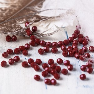 Czech fire polished dark red beads, 6 mm, 40 pcs.