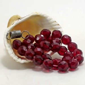 Czech fire polished beads, garnet red, 8 mm, 20 pcs.