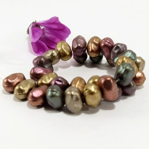 Fantasy Czech Glass Beads, Mix of Metallic Colors, 60 pcs.