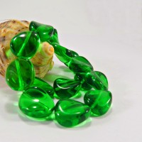 Czech Pressed Glass Beads, Twisted, Bright Green, 12 mm, 15 pcs.