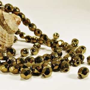 Czech fire polished beads, Jet bronze luster, 4mm, 60 pcs.