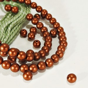 Czech glass druk beads with bronze coating, 4mm, 120 pcs.