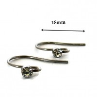 Stainless steel earwires with crystals, 5 pairs